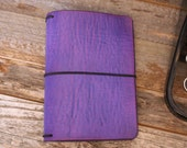 Leather Travelers Notebook - Electric Violet - Leather Quill Shoppe - 6 Sizes- Leather Journal -Purple Leather - Gift for Her - Holiday Gift