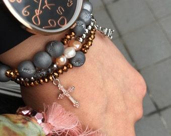 Dark Grey and Copper Bead Charm Bracelet Set