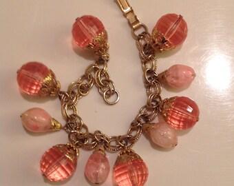 Vintage Pink Beaded Charm Bracelet