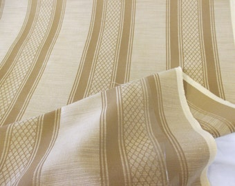 Golden Striped Linen Blend Upholstery Fabric. By Swaffer Furnishings. Price Per Metre