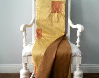 Sophisticated Yellow Silk and Jacquard Throw Blanket