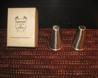 Vintage Brand New Northland Oneida Stainless Salt & Pepper Original Box