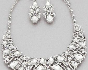 Wedding Teardrop Crystal Bib Necklaces Set