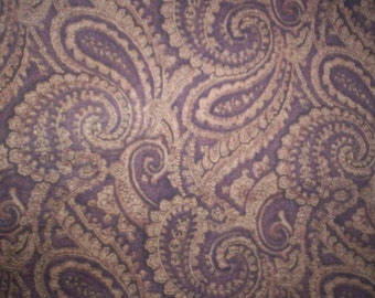 Fabric cotton brown paisley 91  x 38  inch