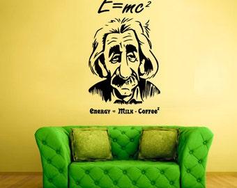 Albert Einstein Wall Decal Einstein Portrait Wall Decal Einstein Sticker wall Einstein wall sticker (Z497)