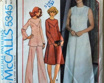 1970s McCall's Vintage Sewing Pattern 5345, Size 12; Misses' Dress or Top and Pants