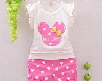 Minnie Mouse Applique Shirt & Shorts Set