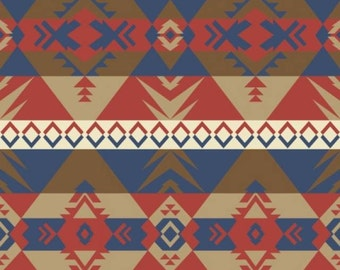"Fleece Fabric Native American Blanket Fabric Navy Style 39349-6 60"" Wide"