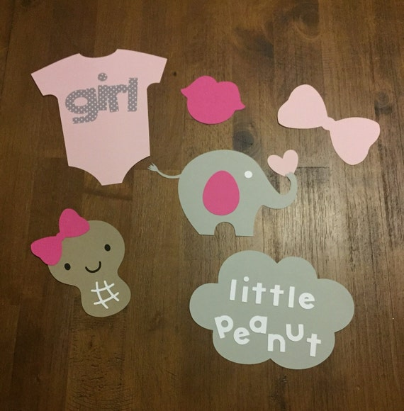 elephant little peanut baby shower photo booth props 6 piece set