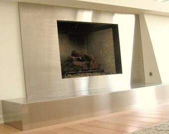Contemporary Stainless Steel Fire Place Surround and Hearth