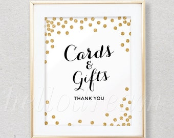 Cards & Gifts Sign, White and Gold Glitter Wedding Table Sign, Confetti Bridal Shower Decor- SKUHDG14