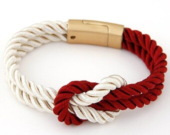Nautical Rope Bracelet, Red and White Bracelet, Cord Bracelet.