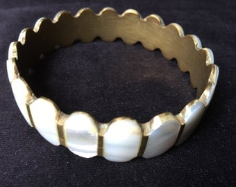 Brass and White Mother of Pearl Bangle