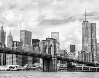 New York photography, Brooklyn Bridge, Manhattan, USA photography, large wall art print, professional photo, skyscraper #032