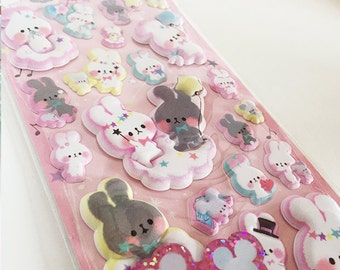 Scented Cute Kawaii Puffy Rabbit Stickers