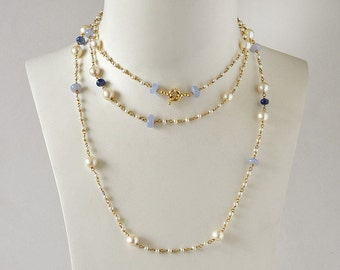 Chalcedonies , pearls and sapphire necklace