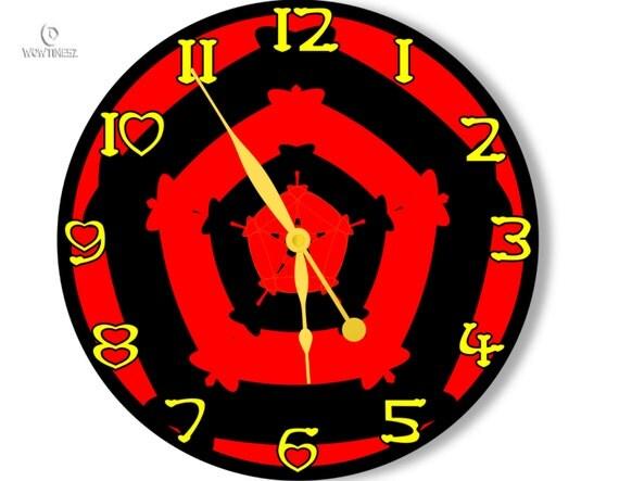 Red and black wall clock modern wall clock large wall for Red and black wall clock