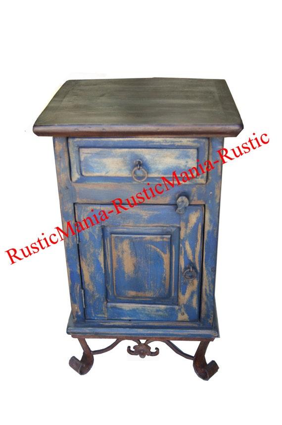 rustic navy blue end table night stand metal base 6160. Black Bedroom Furniture Sets. Home Design Ideas