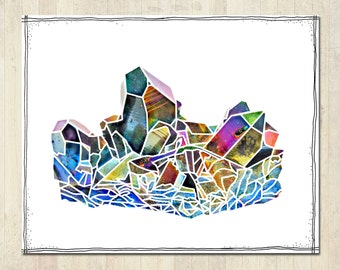 Titanium Quartz Crystal Print - Rainbow Aura Raw Gemstone - Beautiful Stone Wall Art - Instant Digital Download Printable Image - Jewel Gift