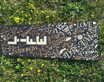Big Customizable Wood burned wall hanging. Negative space word Scatter Art. Memories