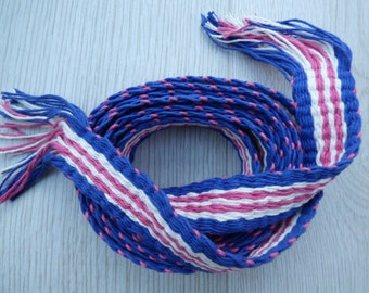 Handwoven inkle loom braid 100% cotton - raspberry pink and mid blue and cream