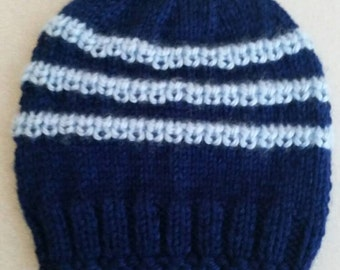Knitted baby hat,3-6  months, navy blue with blue lines