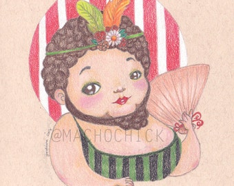 The Bearded Lady-OOAK Colored Pencil Illustration