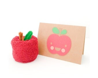 Back To School Gift - Teacher Gift - Wash Cloth Apple - Apple Gift