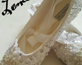 Ivory or White Bridal Wedding Slippers Flat Satin Shoe  Ballet Swarovski Crystals & Pearls Now ON SALE!