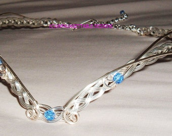 Celtic & Aquamarine Crystal Elven Merlin triple weave circlet crown adjustable wedding handfastiing ren