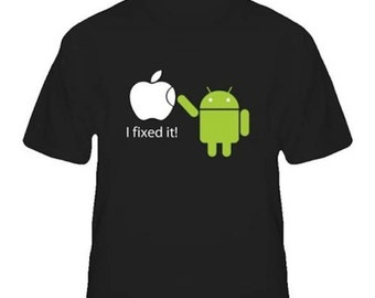Google Android Robot Apple Funny I fixed T shirt Humor Geek T-shirt Tee