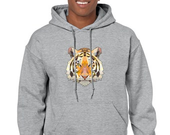 Unisex Tiger Head Geometric Abstract Triangle Art Top Hipster Hoodie  -Gray-Black-Navy- Hoody