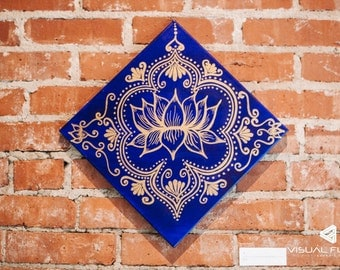 Henna Inspired Golden Lotus Painting on Royal Blue Background