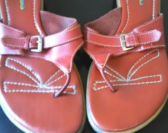 Ipanema red leather & silver thong Sandal's