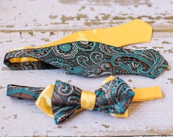 Mens Teal Paisley Bow Tie