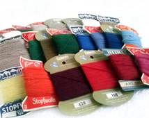 Set of 77 Sewing/Darning Wool/Nylon Cards, Vintage Assorted Colors/Shades Embroidery Threads, Retro Petit Point Supplies, 1950 Mending Yarn