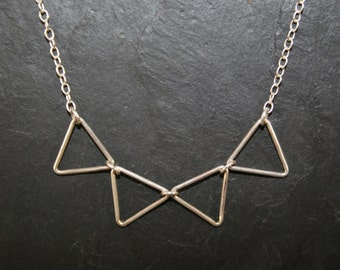 Necklace 4 triangles pendant