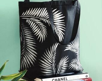 Market Bag-Tropical Shoulder Bag-Tote Bag-Dark Paradise Collection