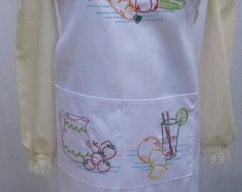 Hand Embroidered Fresh Vegetables, Lemonade, BBQ Baking Cooking Kitchen Apron