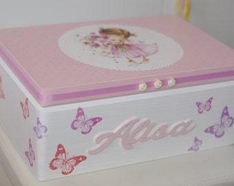 Decoupaged memory box for a baby girl, keepsake box for a girl, personalized baby box,christening box