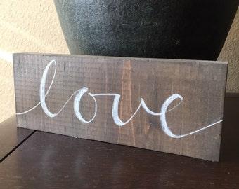 "Mini ""love"" wood sign, wedding decor, valentine gift"