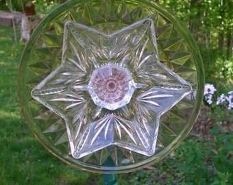 Glass plate flower, garden art, sun catcher, yard art