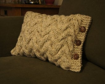 Chevron Knit Cushion Cover with Buttons - Oatmeal