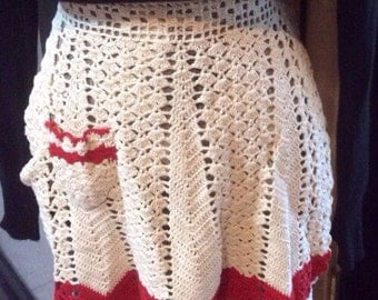 Vintage Red and White Crocheted Apron