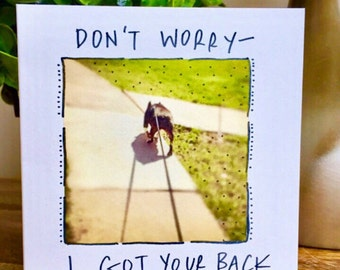 I got your back card, keep your chin up, thinking of you card, boston terrier card, chin up, encouragement card, cute thinking of
