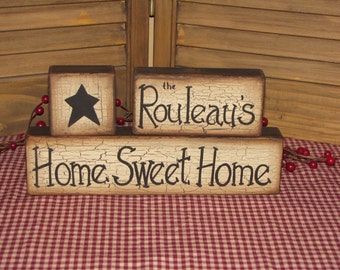 Personalized primitive family wood blocks shelf sitter farmhouse country housewarming hostess gift handmade custom sign home sweet home