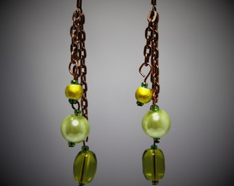 Green Glass, Pearl, & Copper Chain Dangle Earrings
