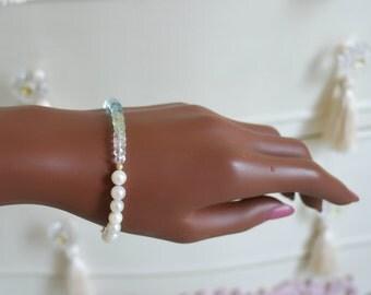 Aquamarine Akoya pearl bracelet aquamarine Akoya pearl bracelet