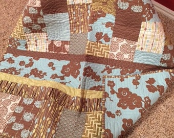 Brown, Green, Teal with a Ruffle Hand Pieced Baby Quilt.