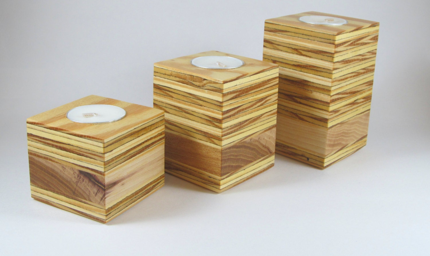 Wooden Tea Light Candle Holder Rustic Candle Holder Wood